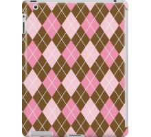Argyle Pattern (Rhombus Pattern) - Pink Brown iPad Case/Skin