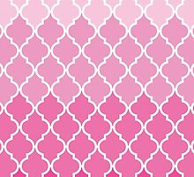 Ombre Moroccan Trellis, Latticework - Pink White  by sitnica