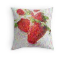 Strawberried Painting Throw Pillow