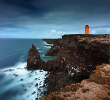 The orange Lighthouse by Dominique Dubied