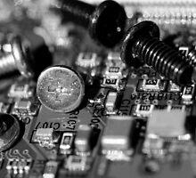 Circuit Board and Screws (B&W) by Derek McMorrine