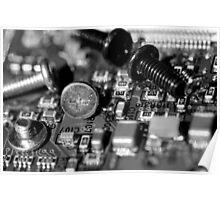 Circuit Board and Screws (B&W) Poster