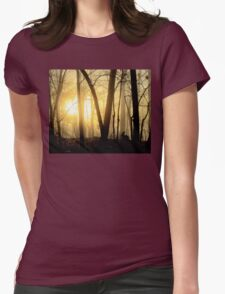 Nibbling Bunny Meets Morning Sun in Foggy Forest Womens Fitted T-Shirt