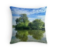 Thames River Reflection Throw Pillow