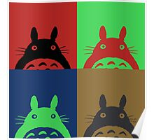 Warhol's Totoro Dark Version Poster