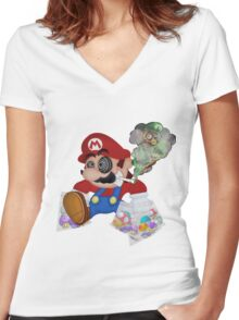 Mushed Mario Women's Fitted V-Neck T-Shirt