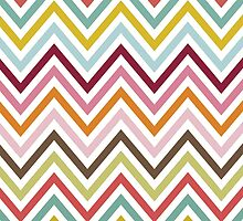 Zigzag Pattern, Chevron Pattern - Green Blue Pink by sitnica