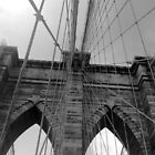 Brooklyn Bridge, New York, Detail B/W by corder-courtier