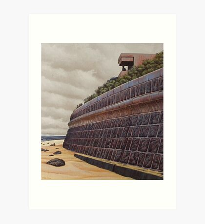Sea-wall (study), Oil on Linen, 45x40.5cm. Art Print