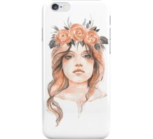 Portrait of a young girl in floral wreath iPhone Case/Skin