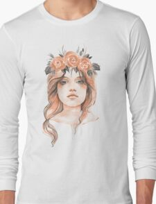 Portrait of a young girl in floral wreath Long Sleeve T-Shirt