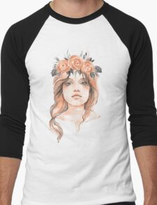 Portrait of a young girl in floral wreath Men's Baseball ¾ T-Shirt