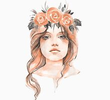 Portrait of a young girl in floral wreath Womens Fitted T-Shirt