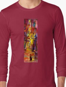 Medieval alley by night in Florence Long Sleeve T-Shirt