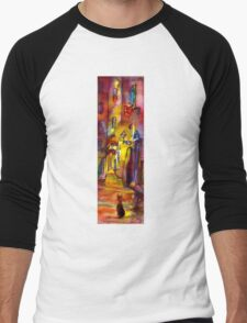 Medieval alley by night in Florence Men's Baseball ¾ T-Shirt