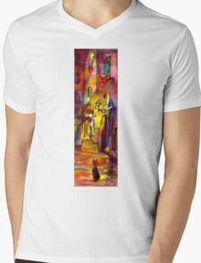 Medieval alley by night in Florence Mens V-Neck T-Shirt