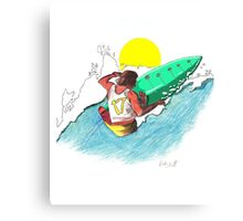 Surfer surfing a wave tube ride hawaii ocean wave surfer graphic design Canvas Print