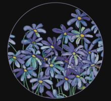 Purple Daisies in Watercolor & Colored Pencil  One Piece - Short Sleeve
