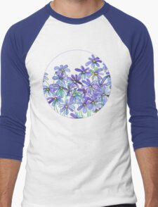 Purple Daisies in Watercolor & Colored Pencil  Men's Baseball ¾ T-Shirt