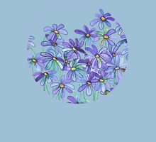 Purple Daisies in Watercolor & Colored Pencil  Womens Fitted T-Shirt