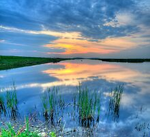 Sunset over Great Marsh, Plum Island by sburdan