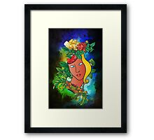 Flowers and mask Framed Print
