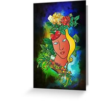 Flowers and mask Greeting Card