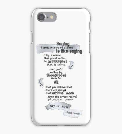 Some Portable John Green Inspiration iPhone Case/Skin