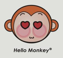 Hello Monkey heart eyes T-shirts by sgame