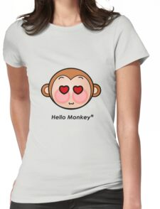 Hello Monkey heart eyes T-shirts Womens Fitted T-Shirt