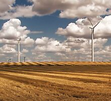 Wind Turbines on a Checkerboard Landscape by JohnDSmith