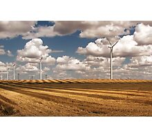 Wind Turbines on a Checkerboard Landscape Photographic Print