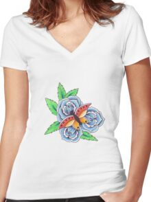 butterfly and roses Women's Fitted V-Neck T-Shirt