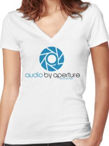 audio by aperture (Aperture Tag) Women's Fitted V-Neck T-Shirt