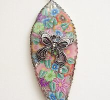 Butterfly and Flowers on Silver Leaf by ValZ