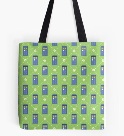 Police Box and Daisies pattern Tote Bag
