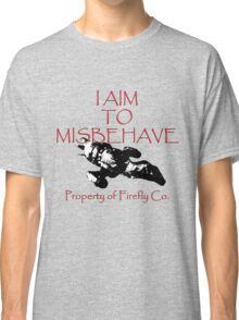 Aim to Misbehave Black and White Classic T-Shirt