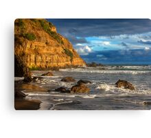 Sunny cliff - with waves dancing to the shore Canvas Print