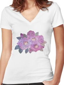 Rose Buds (Pastel) Women's Fitted V-Neck T-Shirt