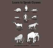 Learn to Speak Ciyawo (white animals, black text) Baby Tee