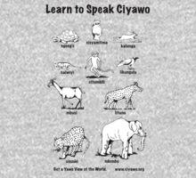 Learn to Speak Ciyawo (white animals, black text) Kids Clothes