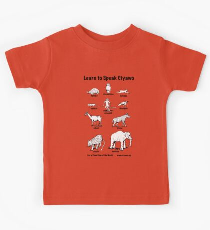 Learn to Speak Ciyawo (white animals, black text) Kids Tee