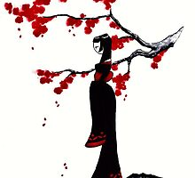 japanese plum blossom girl by GothicMoonlight