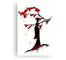 japanese plum blossom girl Canvas Print