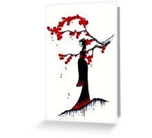japanese plum blossom girl Greeting Card