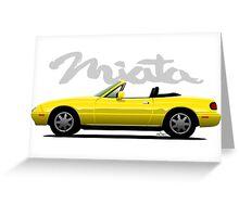 Mazda Miata yellow Greeting Card