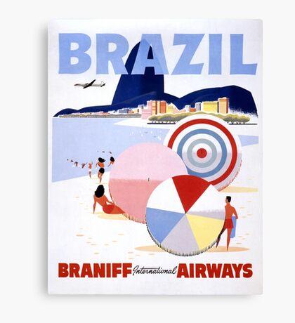 Brazil Vintage Travel Poster Restored Canvas Print