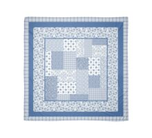 Nostalgic Indigo Faux Patchwork with Border Scarf