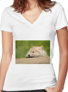 Arctic Wolf Pup Women's Fitted V-Neck T-Shirt