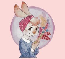 Bunny girl with flowers Kids Clothes